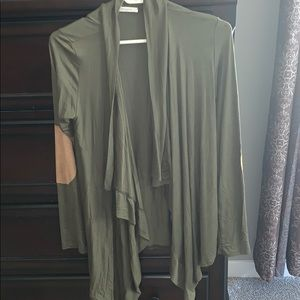 Green cardigan with elbow detail